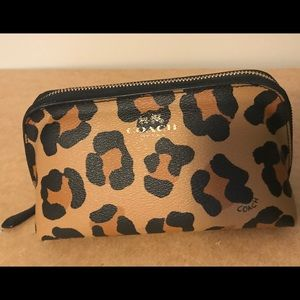 Authentic Coach Ocelot print leather cosmetic case